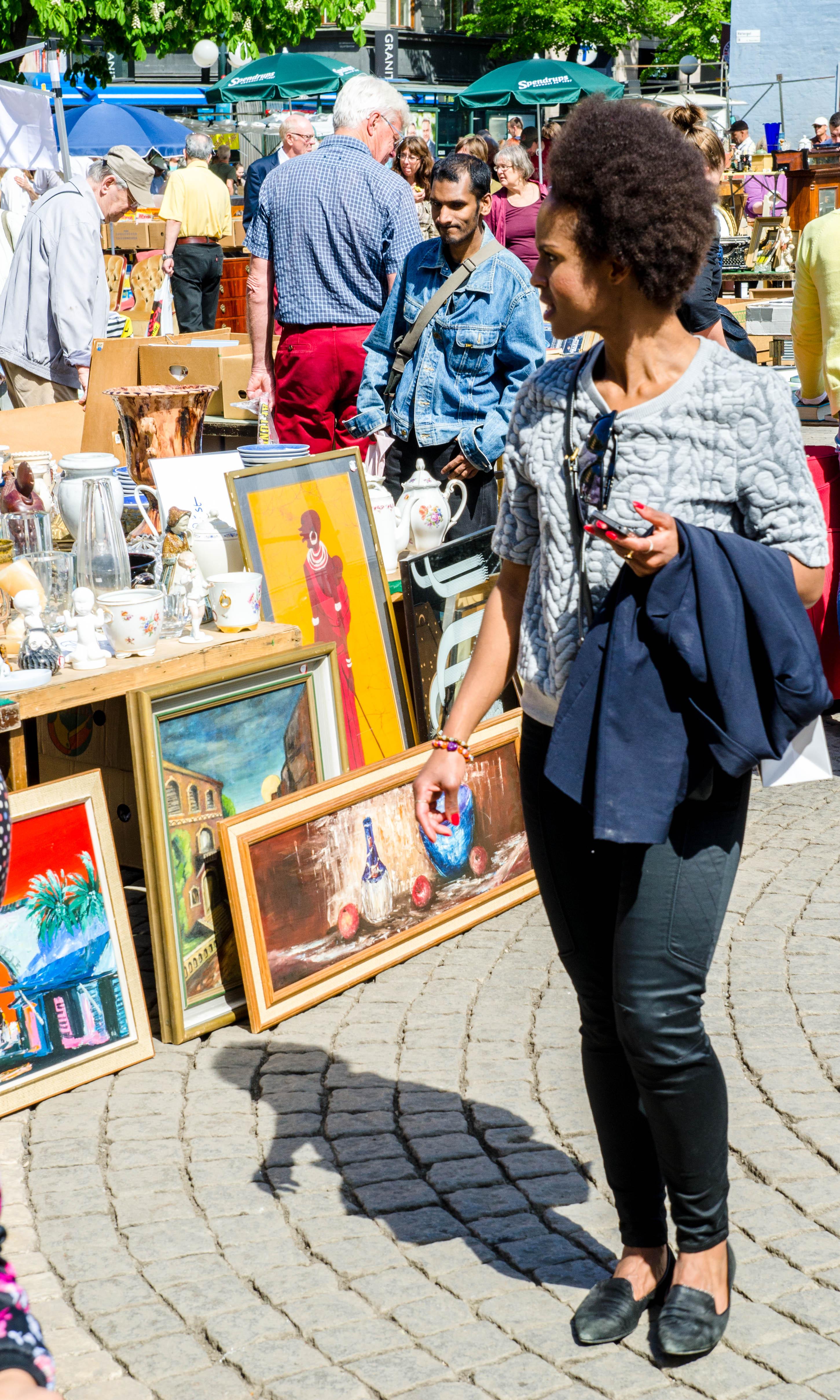 Marknad på Hötorget i Stockholm